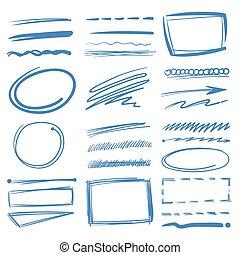 鉛筆, スケッチ, 要素, highlighter, いたずら書き, 手, 円, ベクトル, 印, 引かれる, 下線