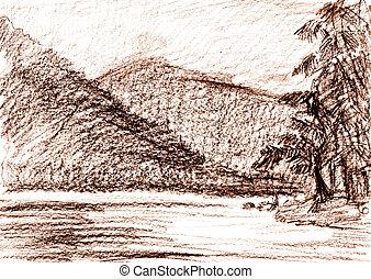 鉛筆, スケッチ, 風景, 山