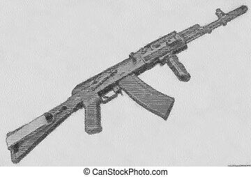 鉛筆, スケッチ, kalashnikov, ライフル銃