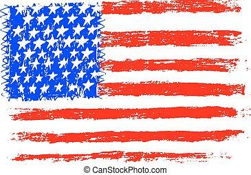 鉛筆, スタイル, 旗, イラスト, アメリカ人, ベクトル, 図画, 子供