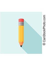 鉛筆, スタイル, illustration., 平ら, ベクトル, icon.
