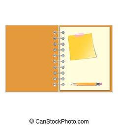 鉛筆, ステッカー, ノート, 開いた, 黄色