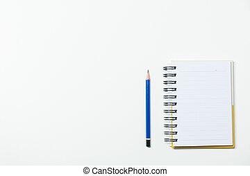 鉛筆, スペース, 上, text., 隔離された, ノート, 背景, 挿入, 白, コピー, 光景