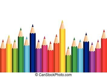 鉛筆, セット, カラフルである, スペース, 端, 背景, 白, コピー, 旗