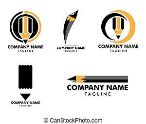 鉛筆, セット, ベクトル, テンプレート, ロゴ, アイコン