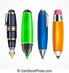 鉛筆, セット, ペン