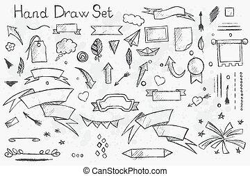 鉛筆, セット, 手, 主題, 要素, テープ, 引かれる