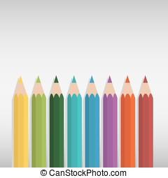 鉛筆, セット, 有色人種, ベクトル, 背景, 白