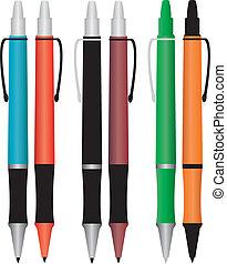 鉛筆, セット, 有色人種