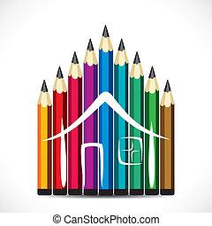 鉛筆, デザイン, カラフルである, 家