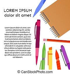 鉛筆, ノート, 背景, ペン