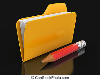 鉛筆, ファイル, フォルダー