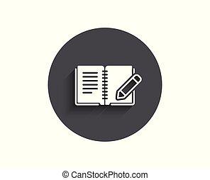 鉛筆, フィードバック, 単純である, 印。, 本, icon.