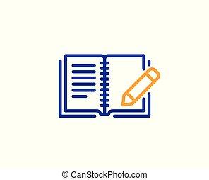 鉛筆, フィードバック, 印。, ベクトル, icon., 線, 本