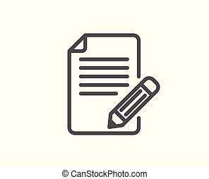 鉛筆, フィードバック, 印。, ページ, 線, icon.