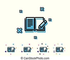 鉛筆, フィードバック, 印。, 本, 線, icon.