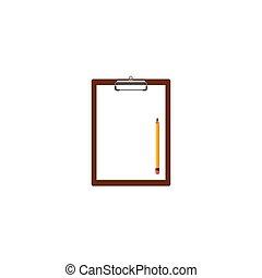 鉛筆, ベクトル, クリップボード, イラスト, ペーパー, ブランク, 白