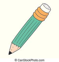 鉛筆, ベクトル, セット