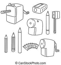 鉛筆, ベクトル, セット, sharpener