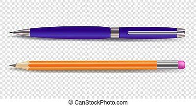 鉛筆, ベクトル, ペン, 背景, ライト, stationery.