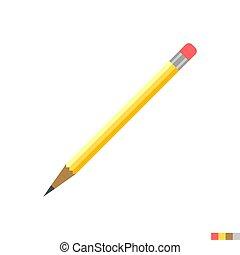 鉛筆, ベクトル, 平ら, アイコン