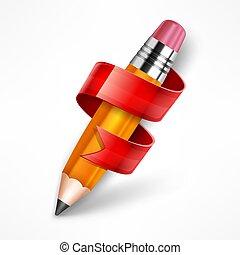 鉛筆, ベクトル, illustration., ribbon.