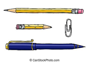鉛筆, ペン, イラスト