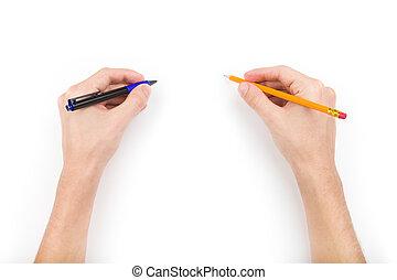 鉛筆, ペン, 人間の術中