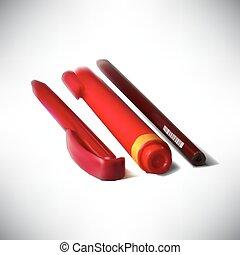 鉛筆, ペン, 図画, ペン, 背景, 白, photorealistic