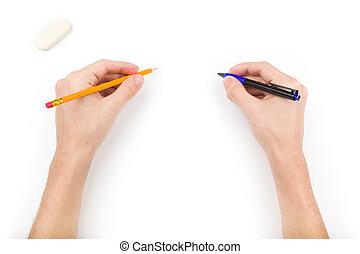 鉛筆, ペン, 消しゴム, 人間