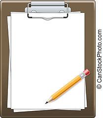 鉛筆, ペーパー, クリップボード