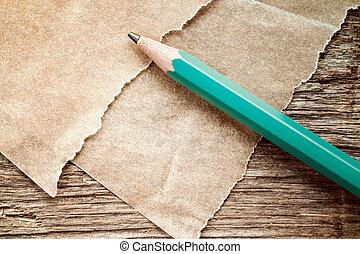 鉛筆, ペーパー, 古い, 小片