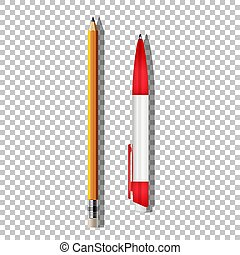 鉛筆, ボールペン, バックグラウンド。, 隔離された, 現実的, ペン, ベクトル, 透明