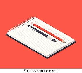 鉛筆, ボールペン, notepad., 上, 等大, イラスト, ペン, ベクトル, オレンジ, 開いた