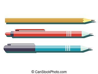 鉛筆, ボールペン, shadow.