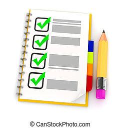 鉛筆, リスト, 背景, 白, 点検, 3d