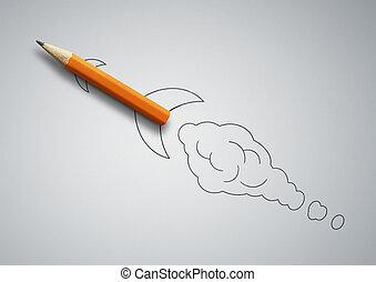 鉛筆, ロケット, 概念, 始動, 創造的, 引かれる