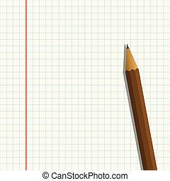 鉛筆, 上, a, 紙張的片, 矢量