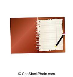 鉛筆, 二, 筆記本, 矢量, 插圖, 部份