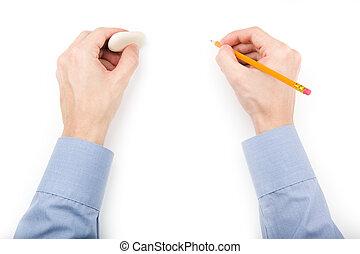 鉛筆, 保有物, 消しゴム, 人