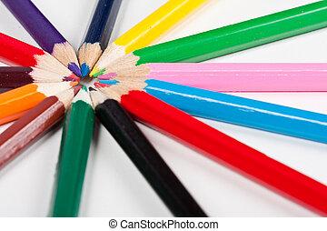 鉛筆, 円, きちんとしている, カラフルである