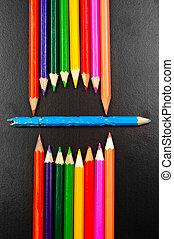 鉛筆, 写真, いくつか, 口, 概念, 表すこと