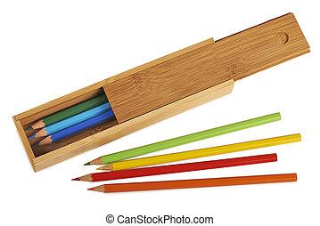 鉛筆, 切り抜き, 開いた, 木製である, (, 隔離された, ), 箱, 道