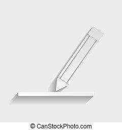 鉛筆, 印。, ペーパー, スタイル, アイコン