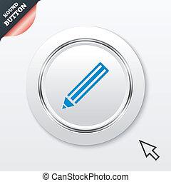 鉛筆, 印, icon., 編集, 内容, button.