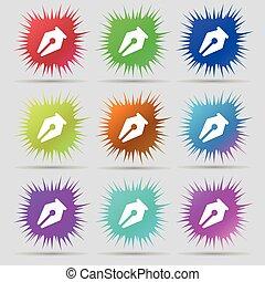 鉛筆, 圖象, 徵候。, a, 集合, ......的, 九, 初始, 針, buttons., 矢量