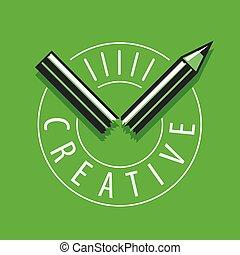 鉛筆, 壊される, ベクトル, 緑の背景, ロゴ
