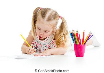 鉛筆, 女の子, カラフルである, 図画, 子供