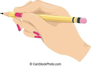 鉛筆, 女の子, 手を持つ