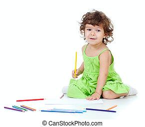 鉛筆, 女の子, 黄色, 図画